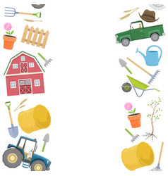 farming instruments borders vector image