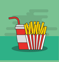 fast food french fries and soda in cup straw vector image