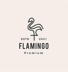 flamingo hipster vintage logo icon vector image