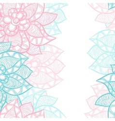 Floral border with abstract hand drawn flowers vector image