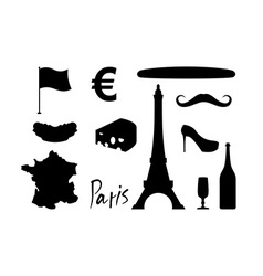 France set icons traditional travel symbol sights vector
