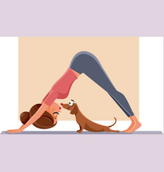 funny girl exercising next to her dog on yoga mat vector image