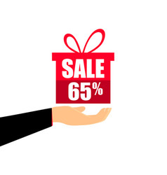 gift box on the hand with a 65 percent discount vector image