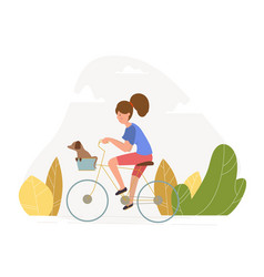 girl with a dog riding a bicycle vector image