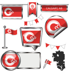 Glossy icons with flag of calgary alberta vector