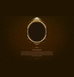 Gold frame border circle picture gold thai art vector