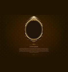 Gold frame border circle picture thai art vector