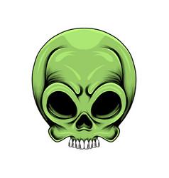 Green alien skull head with holes eyes vector