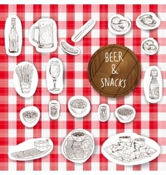 Hand drawn Beer and snacks vector image