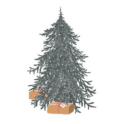 hand drawn merry christmas tree decorated vector image