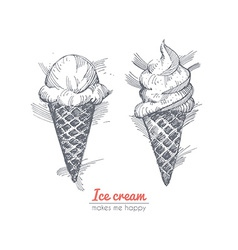 Hand drawn of ice cream vector image