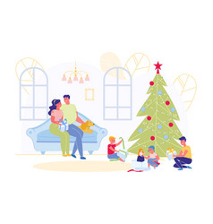 happy family celebrating new year or christmas vector image