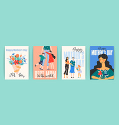 happy mothers day templates with women and vector image