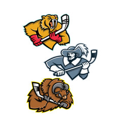 Ice hockey sports mascot collection vector