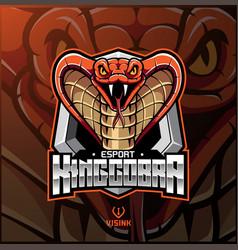 King cobra head mascot logo design vector