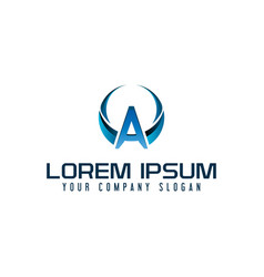letter a logo business technology design concept vector image