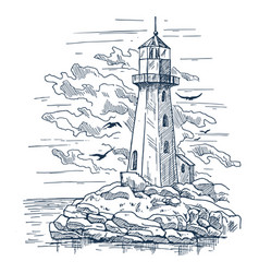 Lighthouse sketch on island made of rocks vector