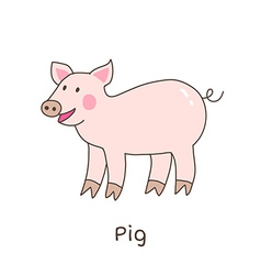 Lineart pig vector image