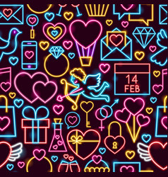 love neon seamless pattern vector image