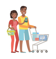 Man and woman shopping for groceries in vector