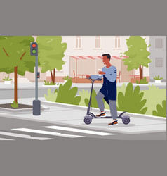 man riding electric scooter standing vector image