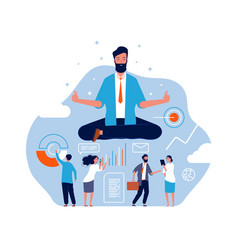 Meditation concept big person sitting in lotus vector