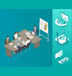 Meeting boss and workers vector