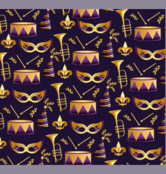 merdi grass masks with trompet and drum background vector image
