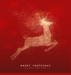 Merry christmas gold deer glitter greeting card vector