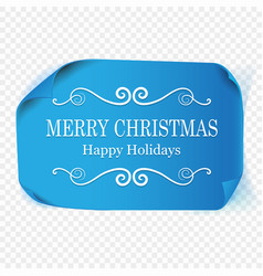 Merry christmas greeting card blue curved vector