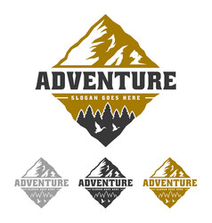 Mountain peak adventure logo forest and wild life vector