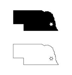 nebraska ne state map usa with capital city star vector image
