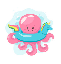 octopus cartoon style vector image