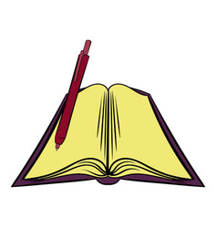 Open textbook icon cartoon vector