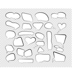 outline speech bubbles set talk cloud comic line vector image