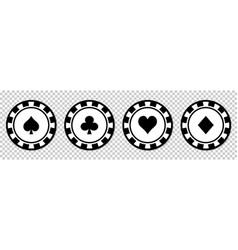 poker chips black icons set vector image