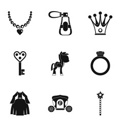 Princess accessories icon set simple style vector