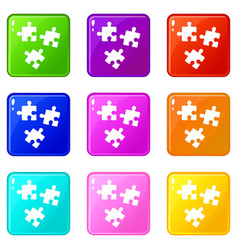 Puzzle icons 9 set vector