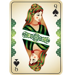 Queen spades from a pack playing cards vector