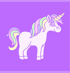 rainbow unicorn on the purple background vector image