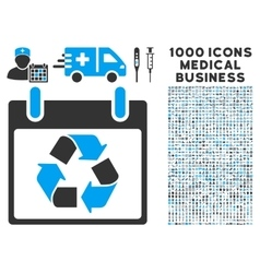 Recycle Calendar Day Icon With 1000 Medical vector