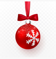 red christmas ball with bow xmas glass ball vector image
