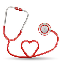 Red stethoscope in shape of heart isolated vector