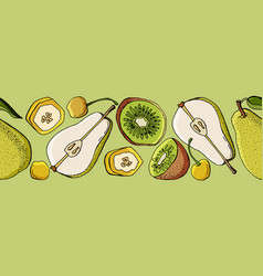 Seamless border with fruits on a light green backg vector