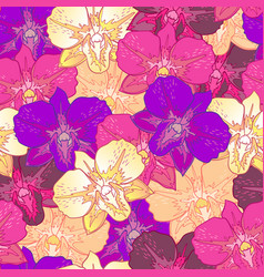 seamless floral pattern pink orchids vector image