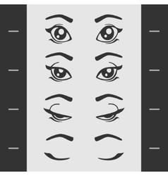 Set elements female eye blink vector