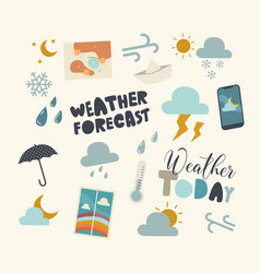 set icons weather forecast meteorology report vector image