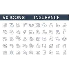 Set line icons insurance vector