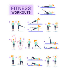 set young woman dressed in fitness vector image