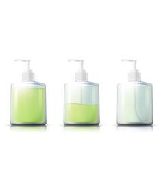 Shampoo pump bottle with liquid gel inside vector
